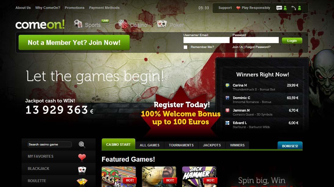 ComeOn Casino Review - 20 Casino Spins + €10 Free Bonus