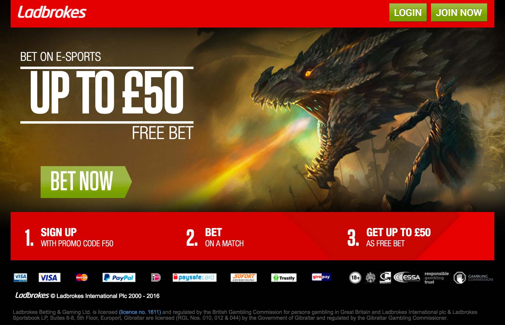Ladbrokes eSports Betting Review and Unique eSports Welcome Bonus