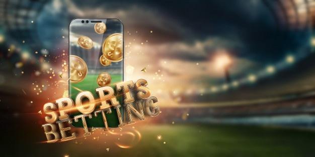 Золотая надпись sports betting на смартфоне на фоне стадиона ...